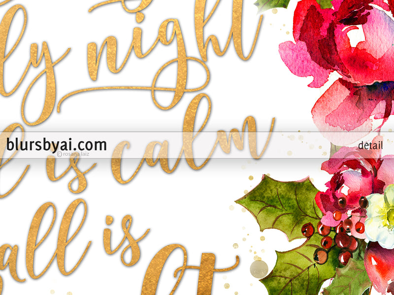 Silent night lyrics printable Christmas decor, in gold and red florals