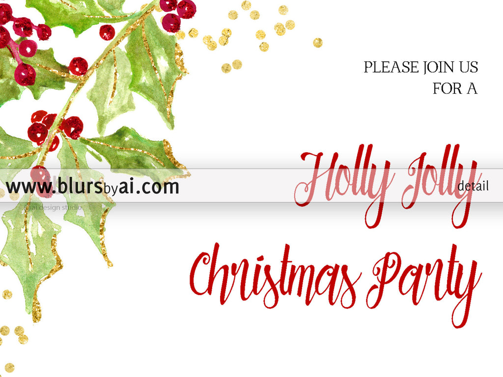 printable christmas party invitation template for word in 5x7 featuring holly leaves and berries