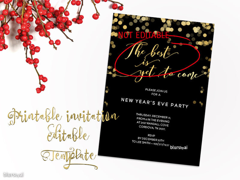 Printable New Year\'s Eve party invitation template for Word, in ...