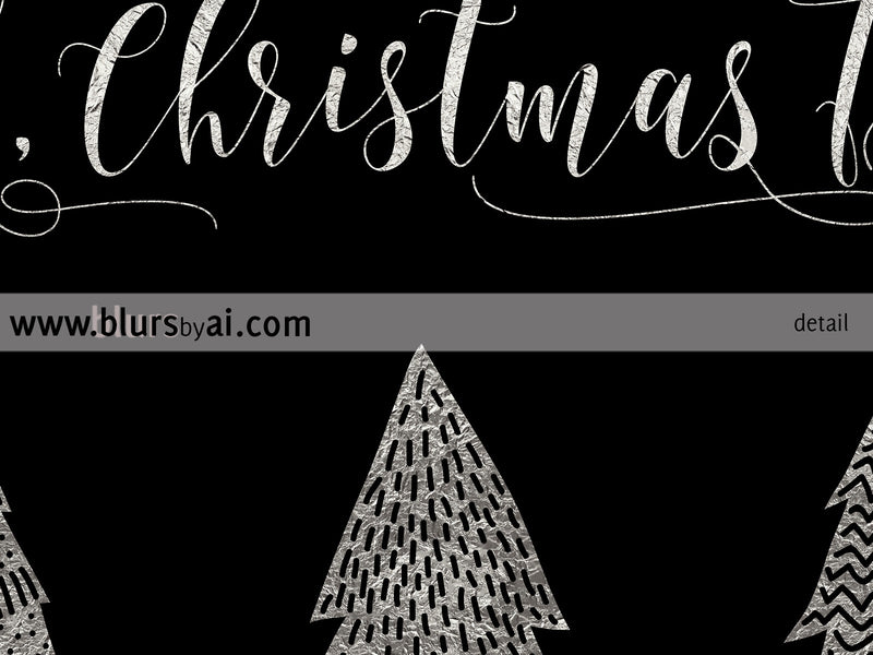 Oh Christmas Tree printable Christmas decoration in black and silver foil