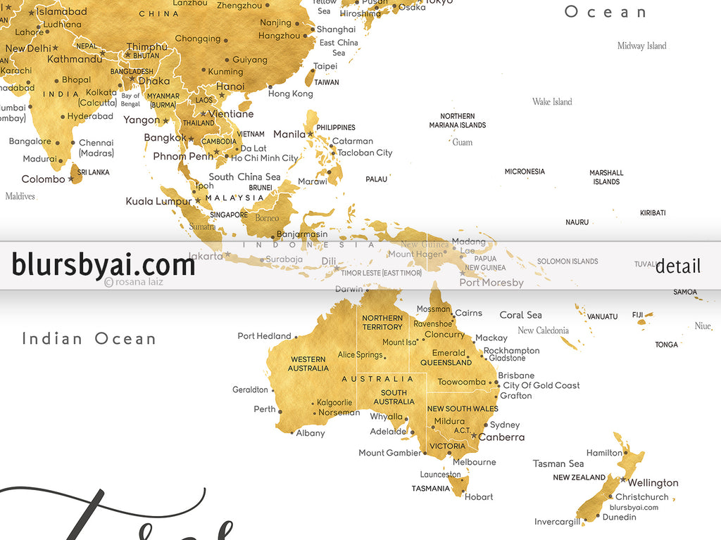 Personalized print gold world map with cities in faux gold foil