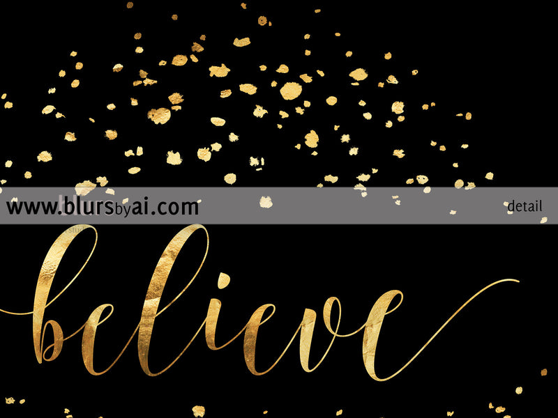 Believe printable Christmas decor in black and gold modern calligraphy