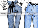 History of jeans fashion illustration sketch