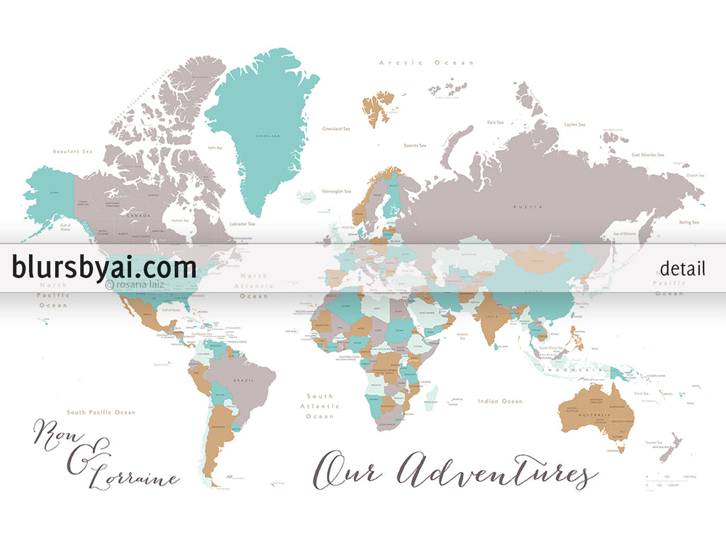 Personalized map print world map with countries states in gray personalized map print world map with countries states in gray camel and teal gumiabroncs Images