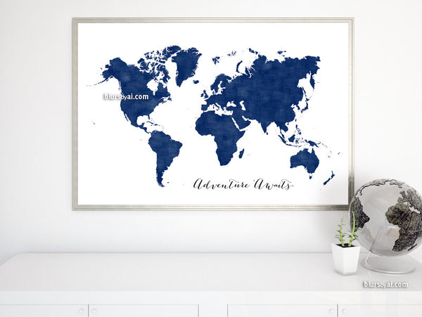 Navy blue world map printable art, Adventure Awaits, in distressed vintage style, large 36x24""