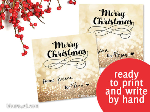 Printable Christmas gift tags in gold glitter