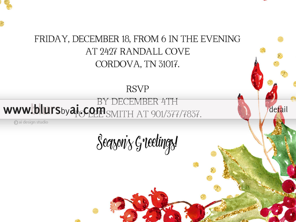 Printable Christmas party invitation template for Word in 5x7 – Invitation Word Template