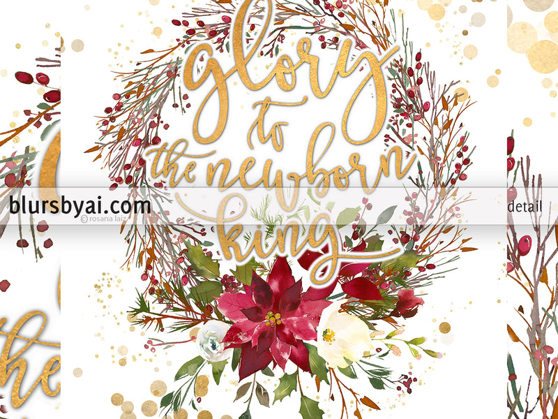 Glory to the newborn king, printable Christmas decor, red and gold wreath