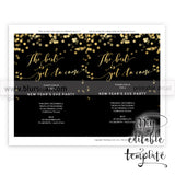 "Printable New Year's Eve party invitation template for Word, in 5x7"" featuring gold confetti, The best is yet to come"