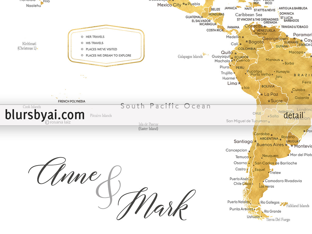 Wedding guestbook map print gold world map with cities in faux gold
