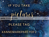 Customized wedding hashtag sign, dark blue watercolor nebula and gold foil text. Lizz collection.