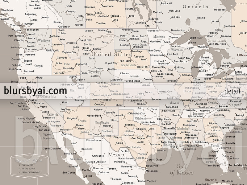 "Small customized USA canvas print or push pin map, 12x9"". ""Light earth tones"""