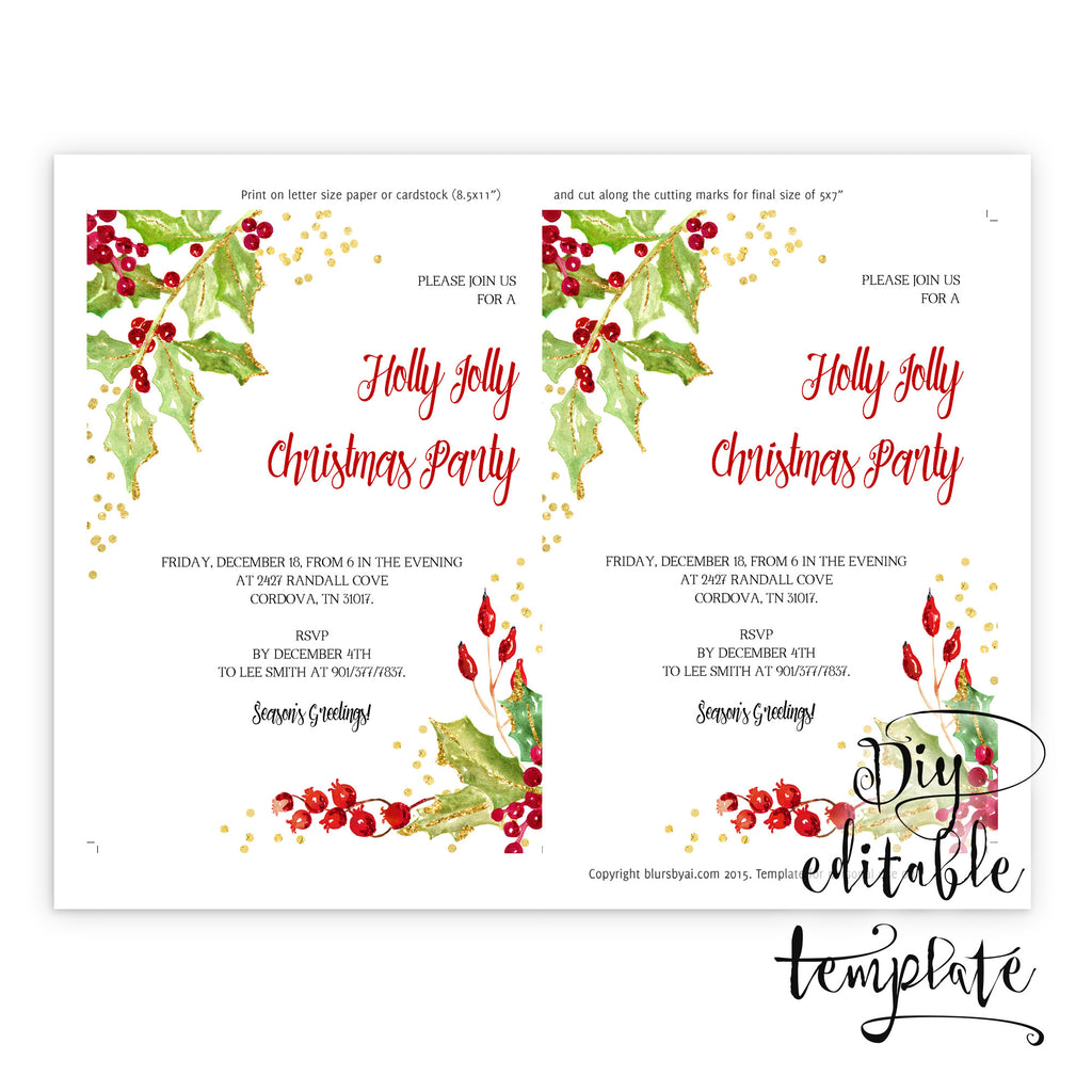 printable christmas party invitation template for word in 5x7 .