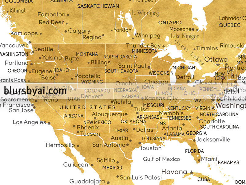 "Custom print: gold world map with cities in faux gold foil effect. ""Rossie"""