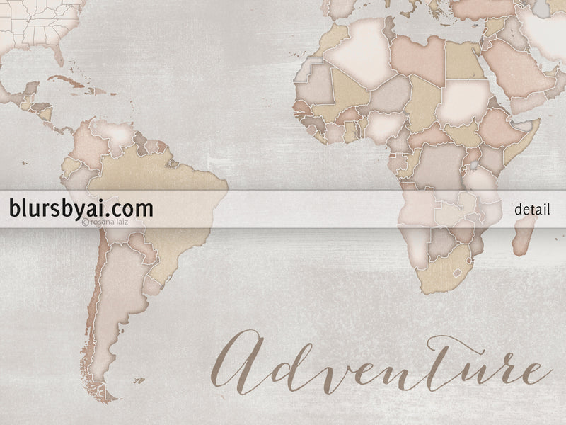 "Adventure Awaits, rustic, small world map push pin for marking your travels, 12x9"", ""Lucille"""