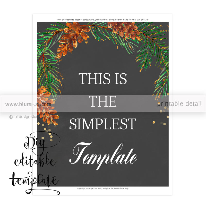 "8x10"" - DIY Printable sign template for Word. Make your own chalkboard signs featuring pinecones and pine branches"