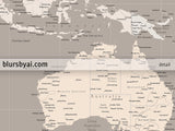 Personalized world map print - highly detailed map with cities in light earth tones