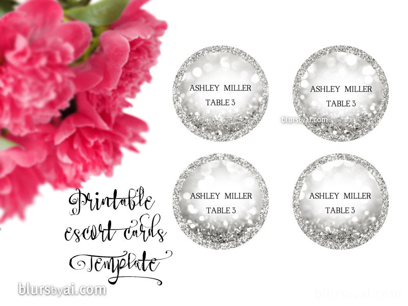 Round escort card template for Word, in silver glitter