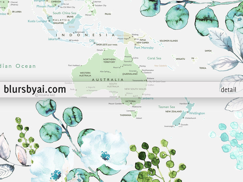 Custom print: world map with cities in green and blue, with watercolor florals and greenery
