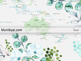 Flowers and greenery world map printable with countries, states and cities
