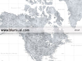 "Custom large & highly detailed world map canvas print or push pin map, grayscale watercolor. ""Jimmy"""