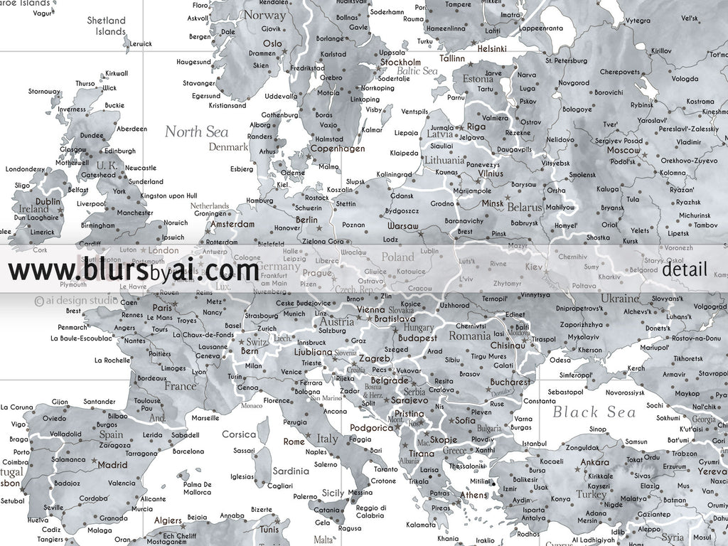 Custom quote highly detailed world map poster grayscale custom quote highly detailed world map poster grayscale watercolor map jimmy gumiabroncs Choice Image