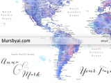 "Personalized watercolor world map with cities, canvas print or push pin map in blue and purple. ""Zora"""