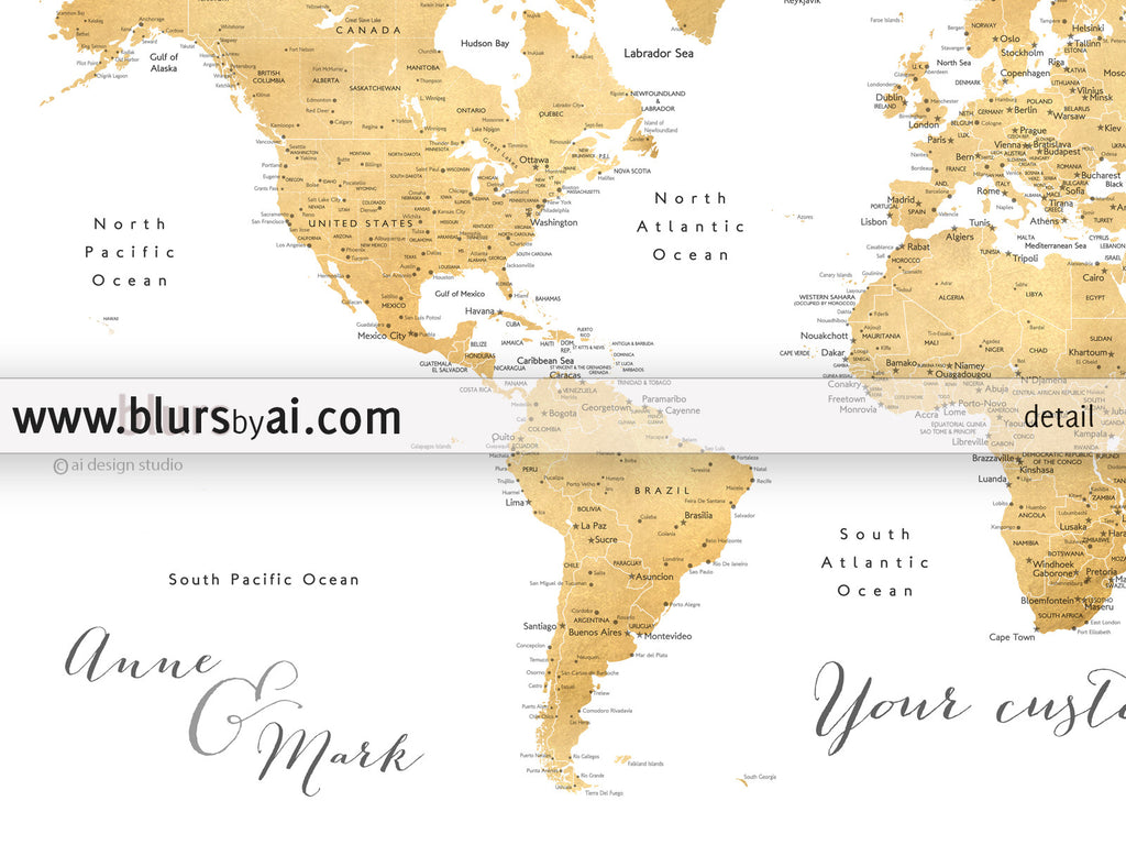 Personalized world map printable art faux gold foil printable