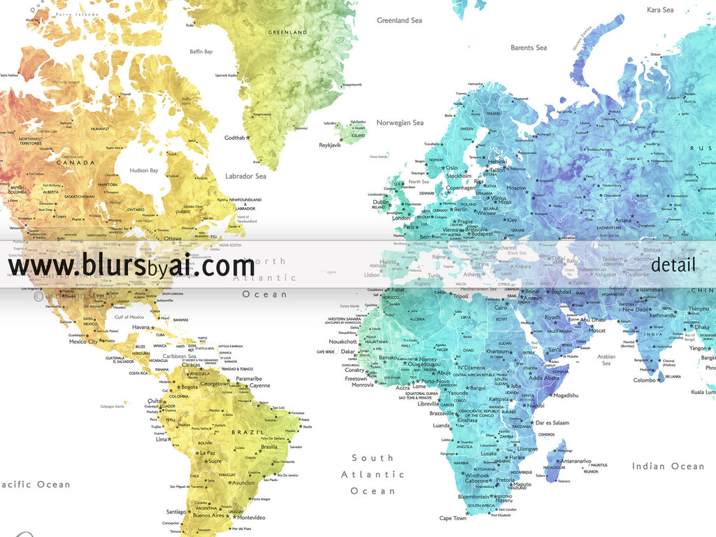 Personalized World Map Printable Art Rainbow World Map With - Hudson bay on world map