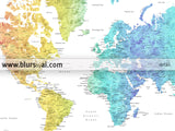 Custom quote - Printable colorful gradient watercolor world map with cities. Color combination: Maxwell