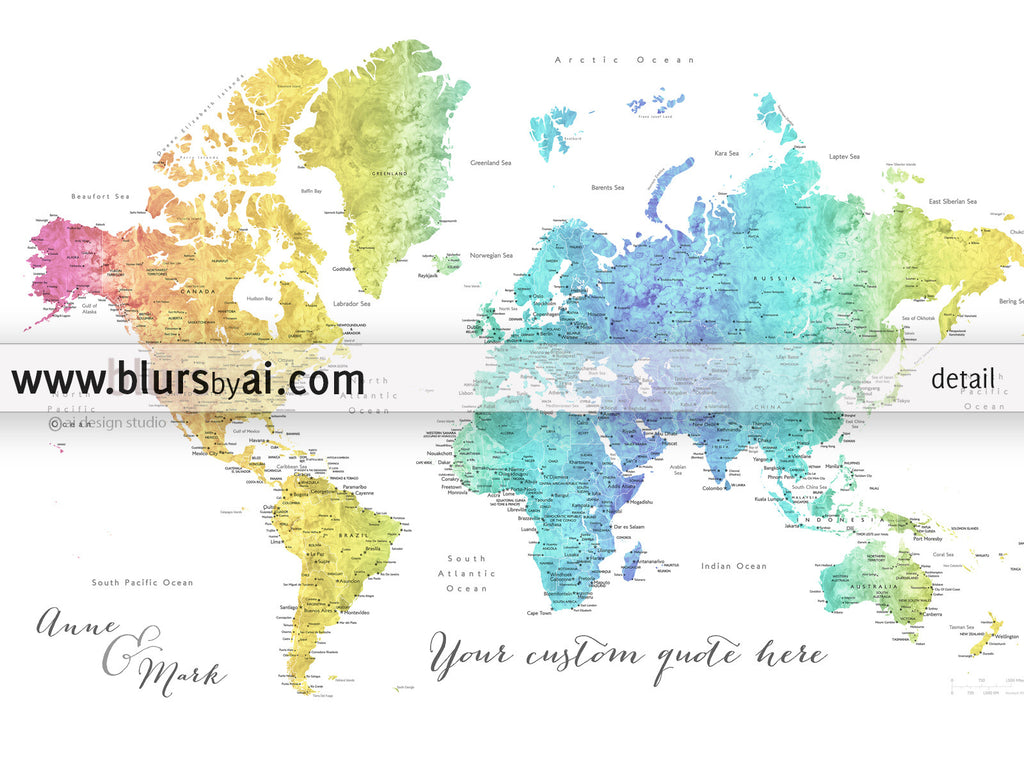 Personalized world map printable art rainbow world map with color combination maxwell custom quote printable colorful gradient watercolor world map with cities sciox Image collections