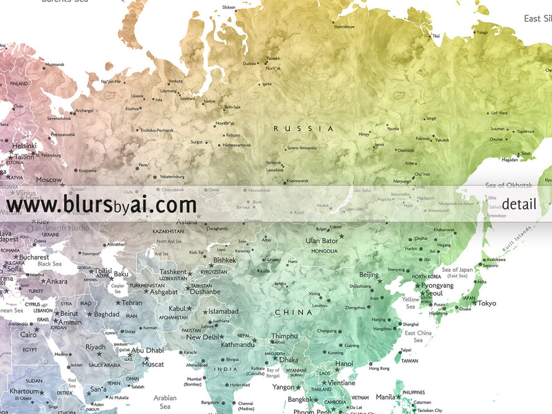 "Printable watercolor world map with cities in colorful gradient, the world is your oyster, large 36x24""."