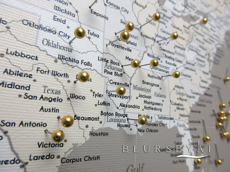 Custom canvas print or push pin map according to our messages