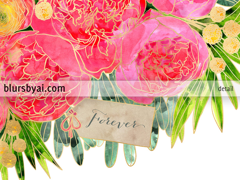 "A bouquet of peonies that won't wither: ""Rekha"" floral bouquet in pink and orange as personalized canvas print with optional frame"
