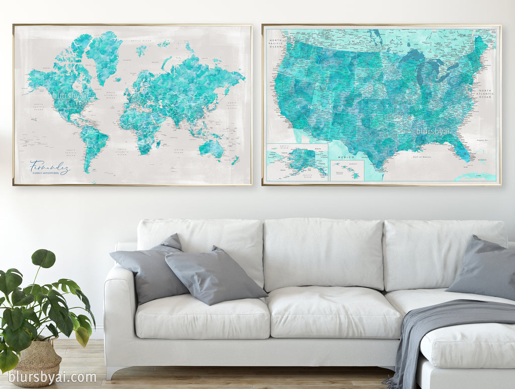 "Set of two map prints on paper: USA and the world in matching style. ""Harriet"""