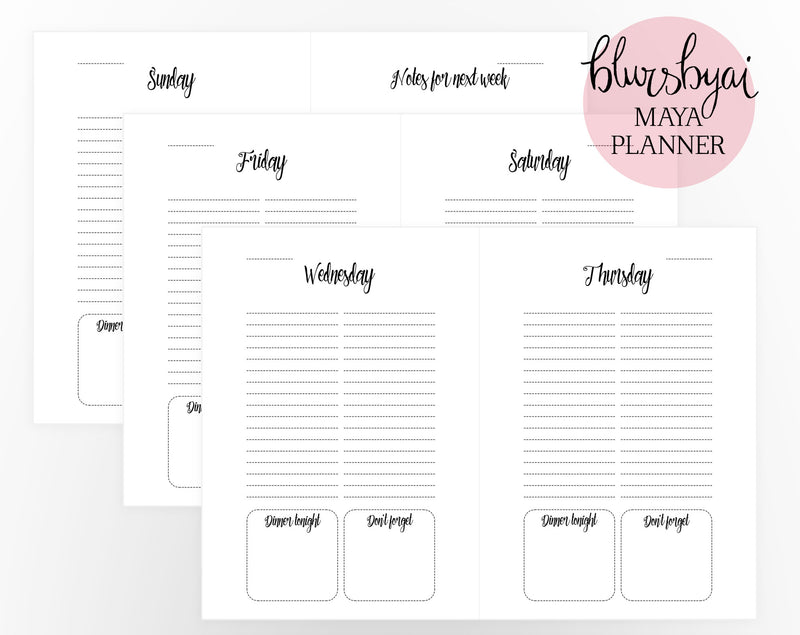 A5 Printable planner. Editable planner template for Word and ready to be printed PDFs. Daily schedule, shopping list, to do list. The Maya planner