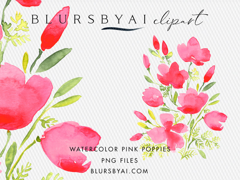 Pink watercolor poppies clipart, extra large, commercial license