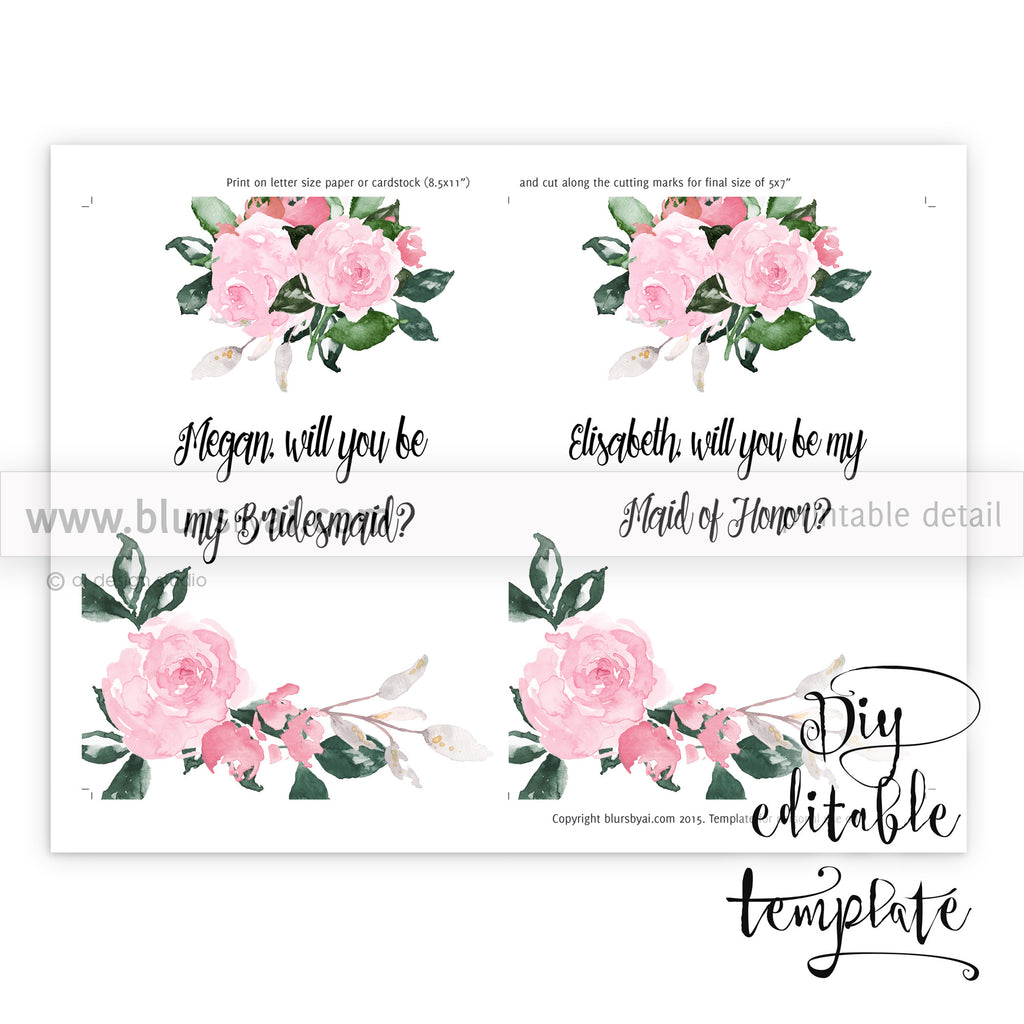 photograph about Will You Be My Maid of Honor Printable called Will oneself be my bridesmaid card, editable template