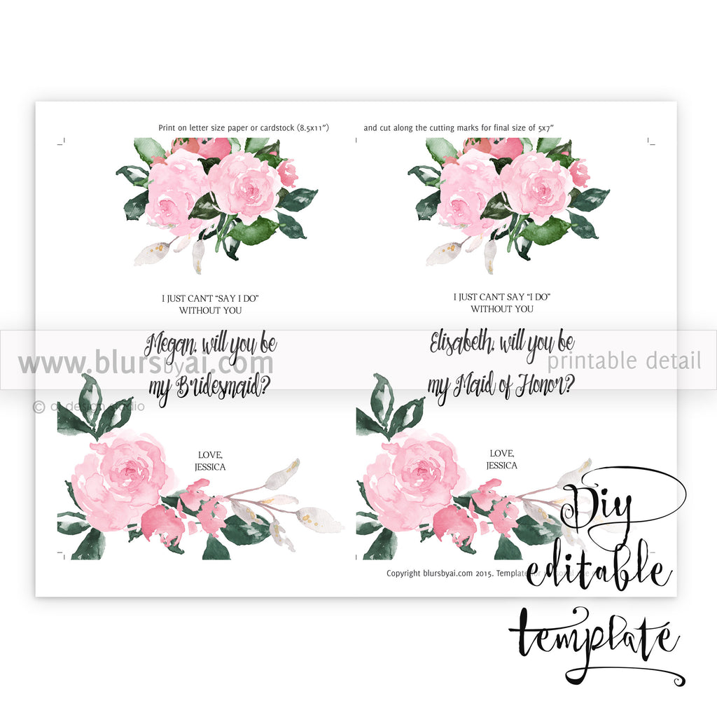 image about Printable Will You Be My Bridesmaid identified as Will yourself be my bridesmaid card, editable template