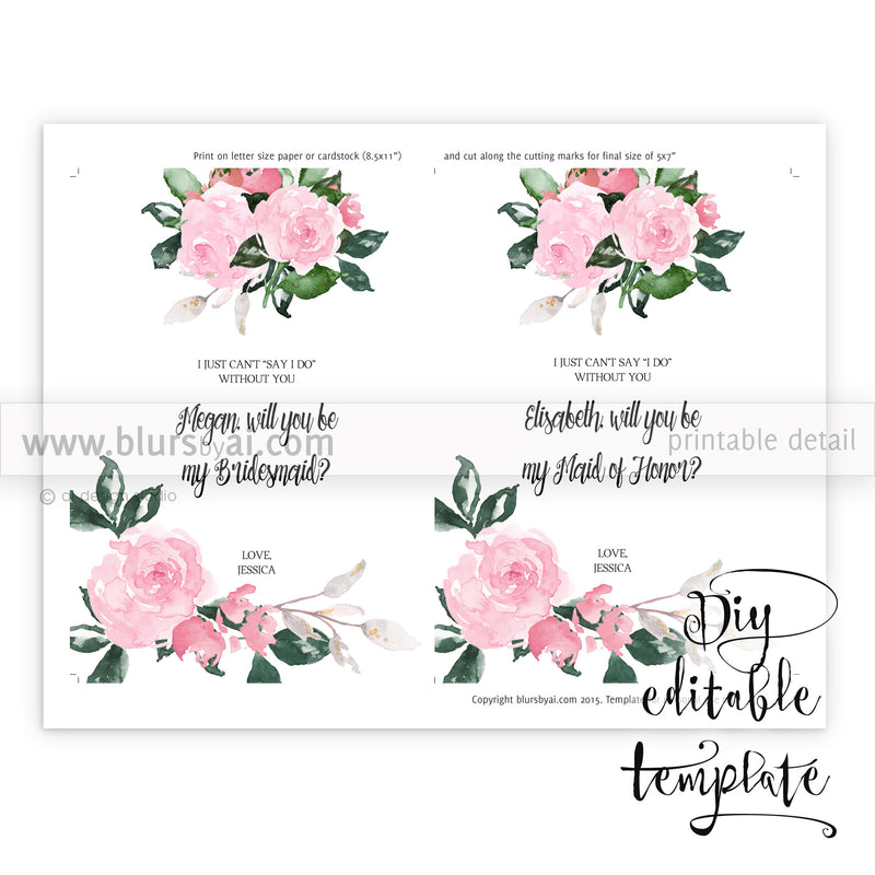 Will you be my bridesmaid card, editable template