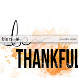 Be thankful, Thanksgiving printable decor in orange watercolor