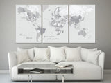 "Custom quote - Set of 3 canvas prints or push pin maps - Multi panel, highly detailed, world map with cities. ""Cristina"""