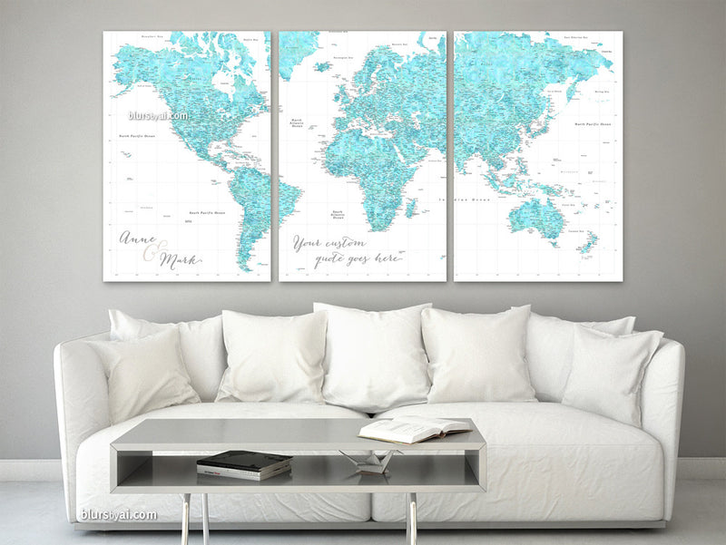 Personalized, large and detailed world map canvas print or push pin map. Aquamarine watercolorr combination, featuring a highly detailed world map with many cities
