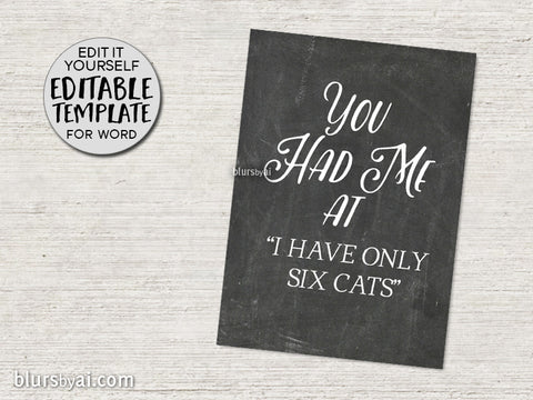 "Printable Valentine's day card template for Word, ""You Had Me at"" - complete with your own love story!"