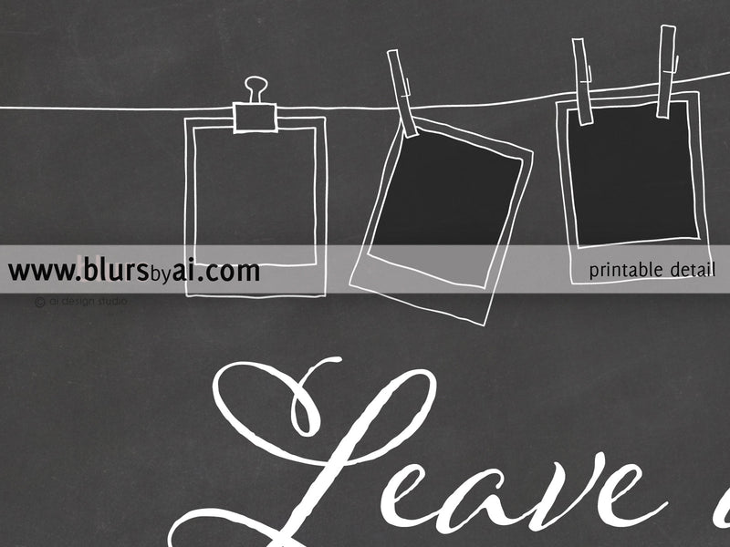 Custom printable chalkboard photo guestbook sign featuring a camera and pictures