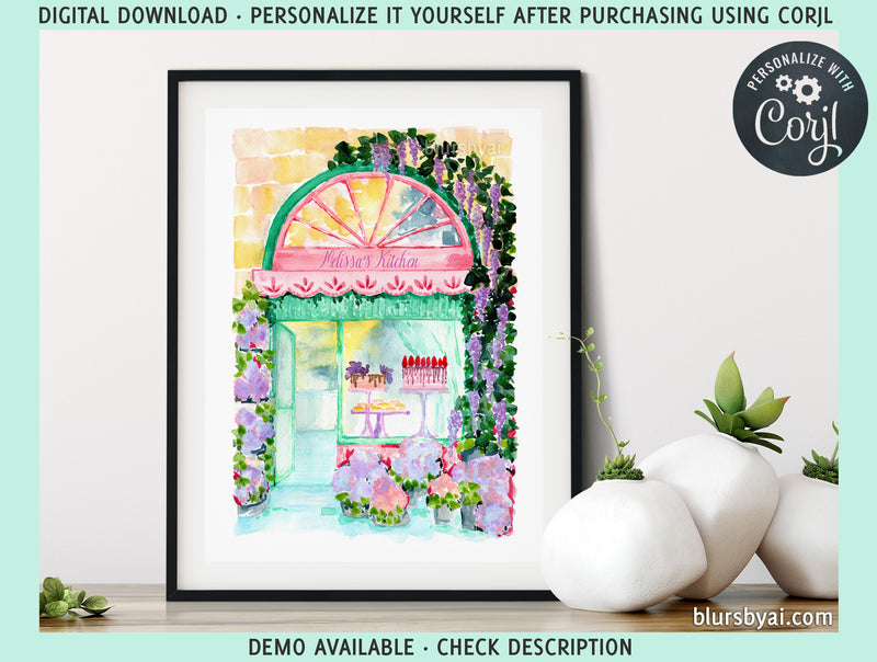 Printable kitchen art: watercolor bakery in spring illustration - Personalize it yourself easily with Corjl