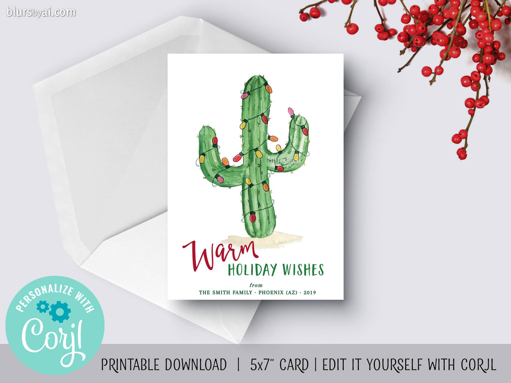 Personalized printable Christmas card: watercolor cactus with holiday lights - Edit with Corjl