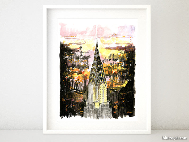 Printable architectural sketch: Chrysler building at night