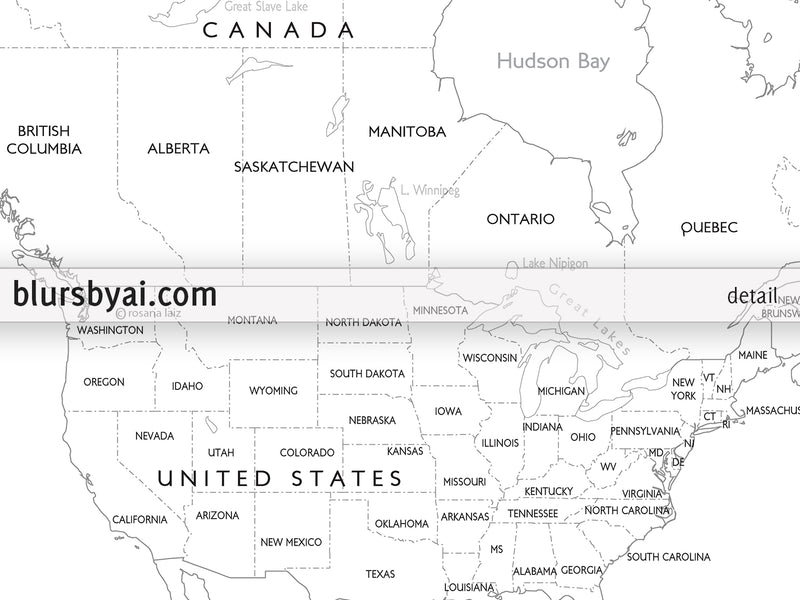 Custom PRINTABLE Blank World Map With Countries And States Labelled Fo –  Blursbyai