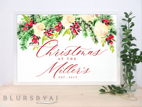 Custom family name art print, watercolor Christmas bouquet